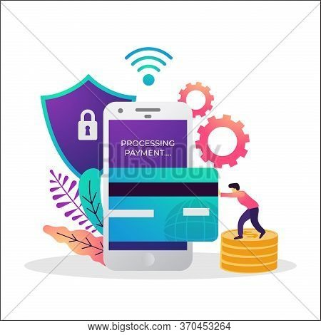 Vector Of Illustration Of Securely Payment Concept.online Payment Being Processed Using A Credit Car