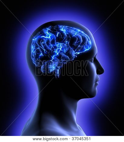 Conceptual image of a man from side profile showing brain and brain activity.