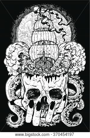 Marine Emblem With Old Sailboat, Skull And Monster Tentacles.  Esoteric, Occult And Gothic Vector Il