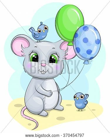 Cute Cartoon Mouse With Balloons. Birthday Vector Illustration With Rodent And Birds.