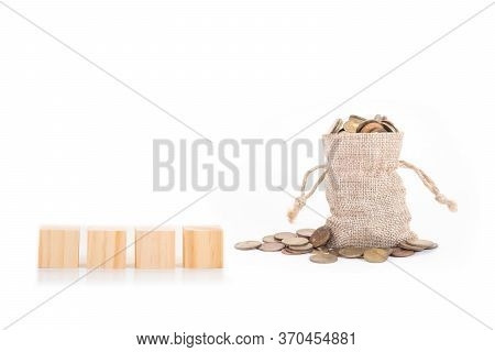 Empty Wooden Blocks And Money Bags With Coins On White Background.time To Invest, Time Value For Mon