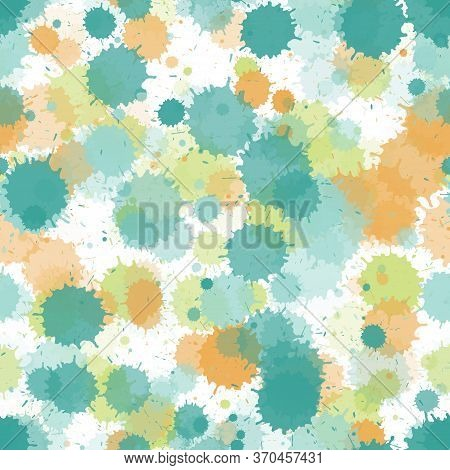 Graffiti Spray Transparent Stains Vector Seamless Wallpaper Pattern. Mottled Ink Splatter, Spray Blo