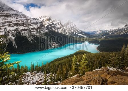 Cloudy Day After Snow Strom At Peyto Lake, Banff National Park, Alberta, Canada. Winter Scene