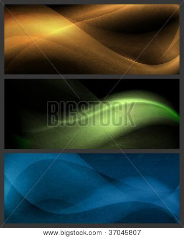 Textured horizontal background set in gold, green and blue. Wavy patterns on dark  background with light effects.