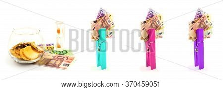 Set Of Paper Euro Money, Gold Coins In Glass Bowl, Hourglass And Multicolor Clothes Pegs On White Ba