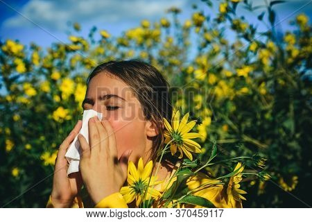 Allergy Medical Seasonal Flowers Concept. Woman With Napkin Fighting Blossom Allergie Outdoor. Aller