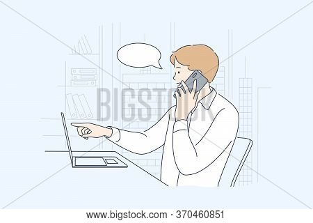 Business, Work, Communication, Discussion Concept. Businessman Boy Clerk Manager Freelancer Working