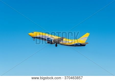 Heraklion, Greece - October 27, 2018: Asl Airplane Take Off On Blue Sky Background.