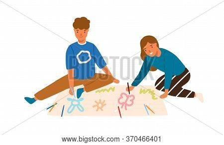 Smiling Boy And Girl Drawing Create Pictures Use Colorful Pencil Together Vector Flat Illustration.