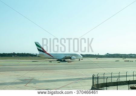 Barcelona, Spain - March 17, 2019: Passenger Airplane Emirates At The Airport.