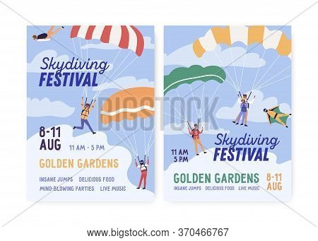 Set Of Skydiving Festival Poster Vector Flat Illustration. Announcement Extreme Sport Holiday With P