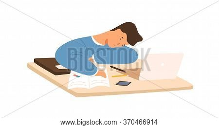 Tired Student Guy Sleeping On Table In Front Of Laptop During Prepare To Exam Vector Flat Illustrati