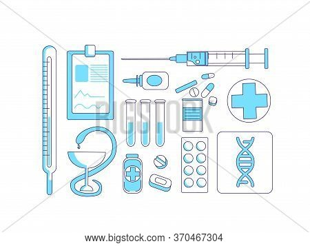 Medicine Items Turquoise Linear Objects Set. Medical Tools And Remedies Thin Line Symbols Pack. Cure