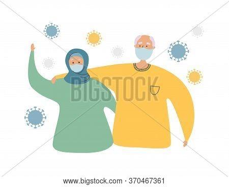 Muslim Senior Couple And Coronavirus Cells. Elderly Islamic People And Coronavirus Infection. Protec