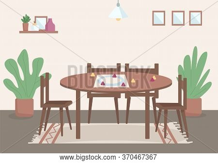 Place For Family Leisure Flat Color Vector Illustration. Table For Board Games For Daytime Entertain