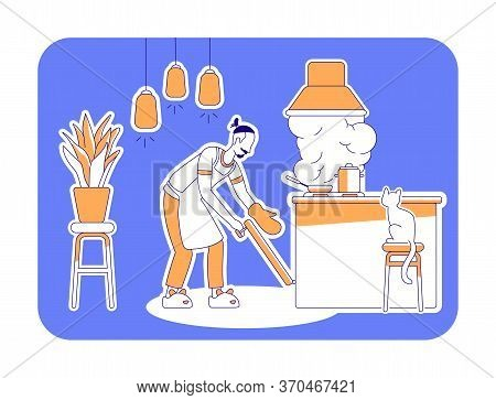 Man Cook At Home Flat Silhouette Vector Illustration. Domestic Cookery. Kitchen Interior. House Chor