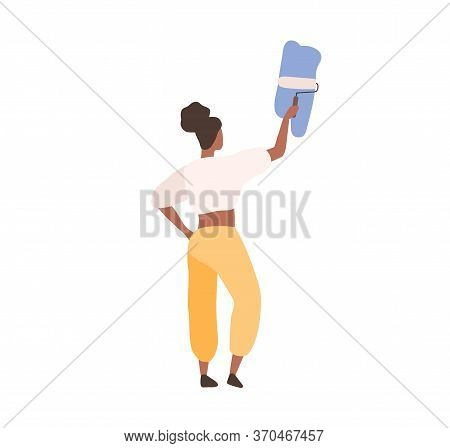 Black Skin Female Professional Painter Painting On Wall Holding Paint Roller Vector Flat Illustratio