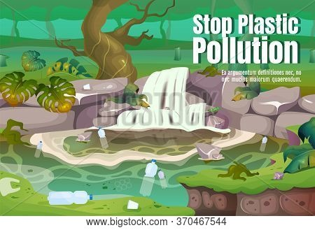 Stop Plastic Pollution Poster Flat Vector Template. Contamination In Water. Polluted Tropical Forest