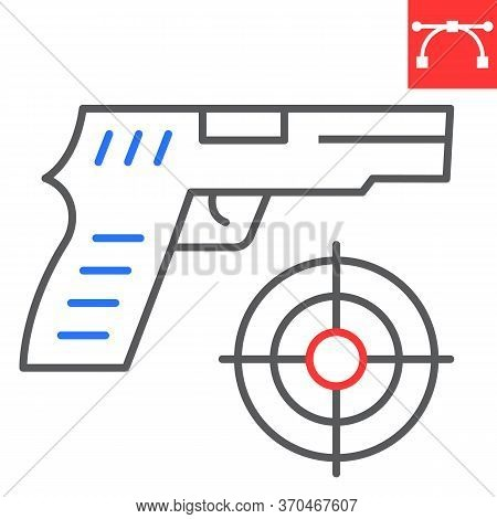 Shooter Game Color Line Icon, Video Games And Gun, Shooting Target Sign Vector Graphics, Editable St