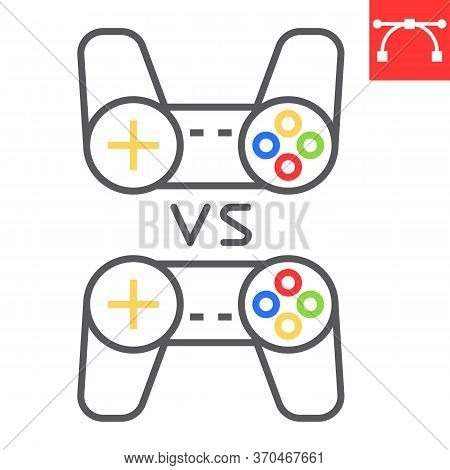 Multiplayer Game Color Line Icon, Video Games And Gamepad, Game Consoles Sign Vector Graphics, Edita