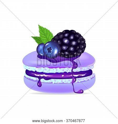 Macaroon, Creamy Dessert With Mint And Berries Realistic Vector Illustration. Purple Meringue, Tasty