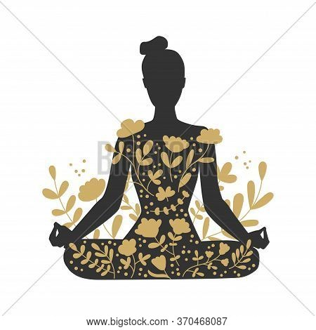 Woman Meditating In The Lotus Position. Black Female Silhouette And Golden Floral Ornament. Woman In