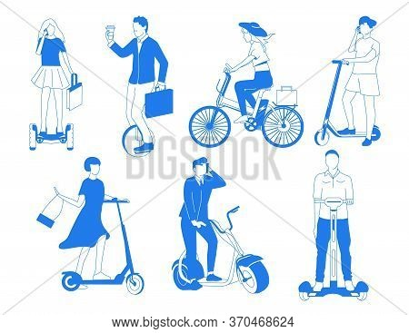 Electric Transport. Personal Mobility Transport With City Bicycle, Skate, Segway And Other Eco Vechi