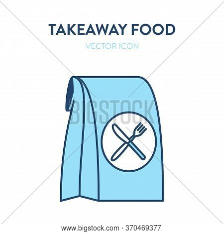 Takeaway Food Icon. Vector Flat Outline Illustration Of A Paper Bag With Knife And Fork Symbol. Repr