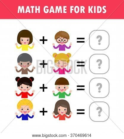 Mathematics Educational Game For Children Learning Counting, Addition Worksheet For Kids. Math Addit