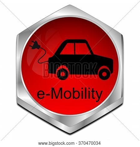 Red E-mobility Button On White Background - 3d Illustration
