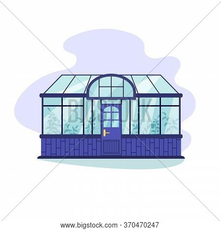 Glass Greenhouse With Various Nutritious Plants Inside. Home Gardening Concept In Flat Style. Vector