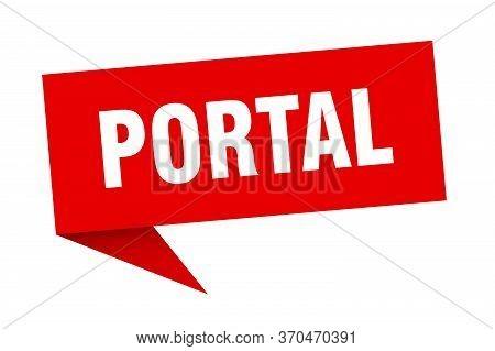 Portal Speech Bubble. Portal Ribbon Sign. Portal Banner