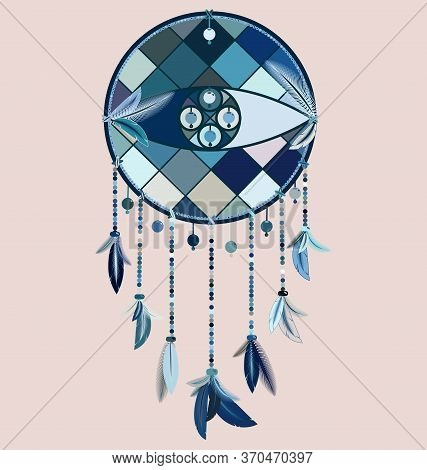 Vector Image Of Dreamcatcher With Feathers And Eye