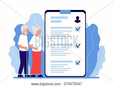 Senior Man And Woman In Consultation With Doctor, Nurce. Health Monitoring In Old Age. Verification