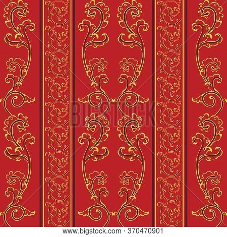 Seamless Pattern In Antique Style Of Acanthus Leaves On Red Background. Classic Luxury, Royal Victor
