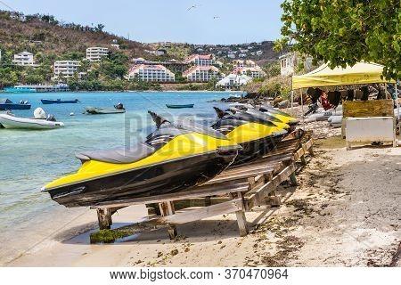 Smith Bay, St. Thomas, U.s. V. Islands (usvi) - April 30, 2019: Jet Skis (water Scooter, Personal Wa