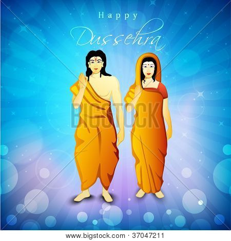 Illustration of Hindu Lord Shri Rama with his wife Mata Sita on blue rays background. EPS 10.