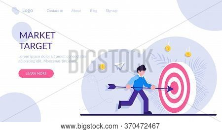 Concept Of Market Goal Achievement, Financial Aim. Character, Office Worker Or Clerk Poking Center O
