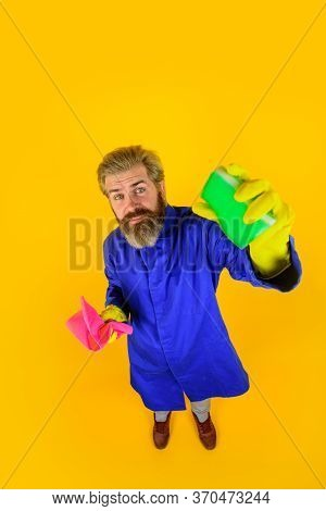 Cleaning Equipment. Cleaning Sponge. Professional Cleaning. Clean Up. Clearing Tools. Bearded Man Wi