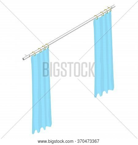 Isometric Curtains With Rings On The Cornice. Light Blue Curtains. Room Interior Element. Vector Eps