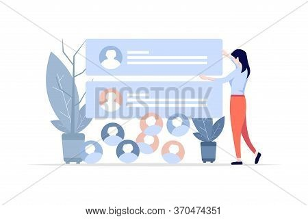 A Woman Puts Up A Comment Menu On The Wall. Social Media Comments. Followers Comments. Flat Design I