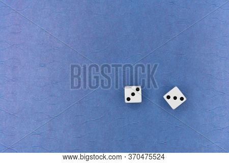 Dice On Blue Background, Dice With Space For Text