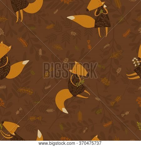 Vector Seamless Foxes Pattern With Floral Elements.illustration With Cute Cartoon Foxes, Leaves, Bra