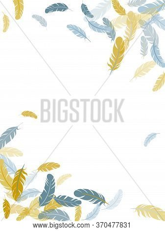 Weightless Silver Gold Feathers Vector Background. Detailed Majestic Feather On White Design. Quill