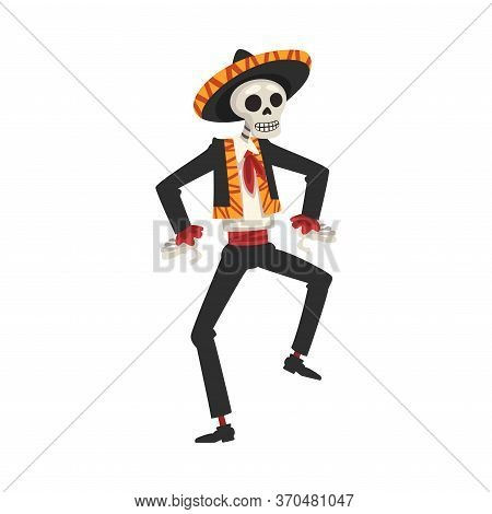 Male Skeleton In The Mexican National Costume Dancing, Day Of The Dead Dia De Los Muertos Concept Ve