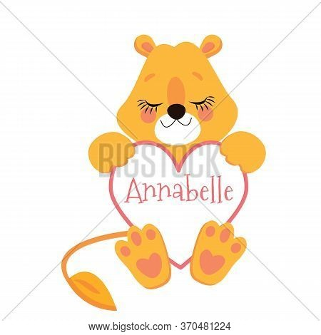 Cartoon Vector Illustration Of Sitting Lion Cub. Isolated Over White.