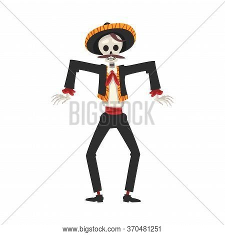 Male Skeleton In Mexican National Costume And Sombrero Hat Dancing, Day Of The Dead Dia De Los Muert