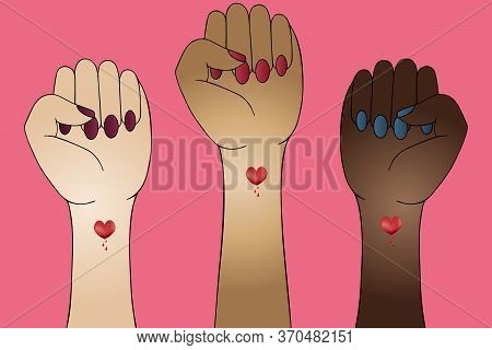 Feminine Fists. Sign Of Protest. Stop Racism. The Struggle For Rights And Justice. Set Of Vector Ill