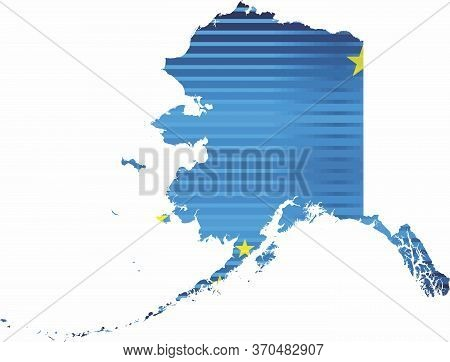 Shiny Grunge Map Of The Alaska - Illustration,  Three Dimensional Map Of Alaska