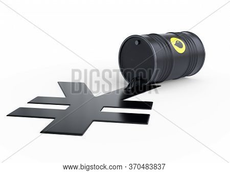 Barrel of oil spilling on a yellow bright background. Black barrel from which oil spills. Oil prices inflation. 3D rendering illustration